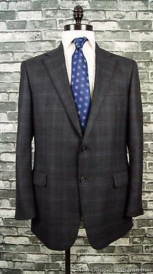 HICKEY FREEMAN 2 Button Worsted Wool Sport Coat Gray Blue Windowpane 44L USA