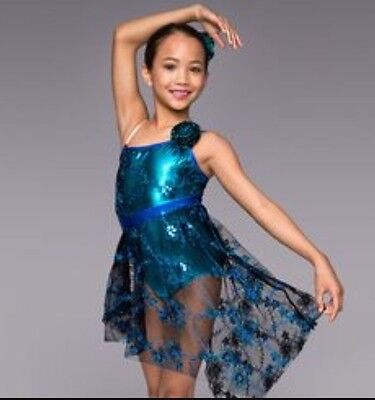 Theatricals Blue and Teal Metallic Leotard Dress Size Large Child