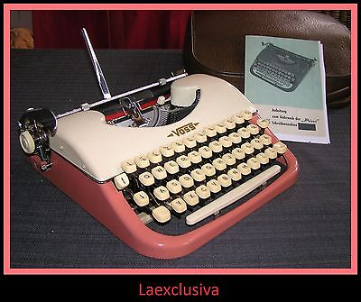 Awesome PINK VOSS PRIVAT Typewriter; ultra rare 50s Gem - small script - (VIDEO)