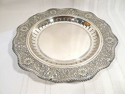 """Antique Mappin & Webb Prince's  Plate SILVER 9 3/4"""" PLATE Repousse FLORAL EDGE"""
