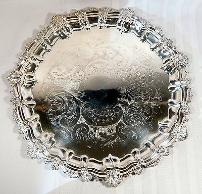 "ANTIQUE Silver Plate 15"" Heavy Round SERVING TRAY Hand Chased Hasler Bros c 1880"