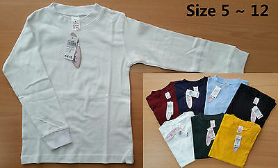 Kids Boys Girls Unisex Long Sleeves Cotton Top Tee School Uniform