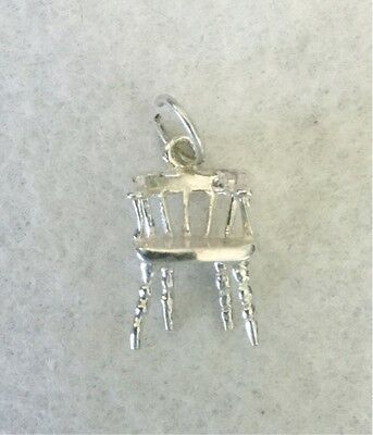 Vintage CHAIR - long traditional 925 sterling silver charm pendant