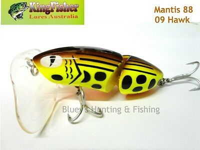 Kingfisher Mantis 88mm articulated surface lure; 09 Hawk + spare bib