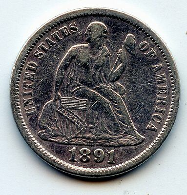 1891 Seated Liberty Dime - Scarce !! (See Promo)