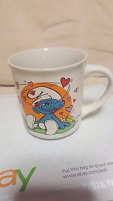 "Vintage 1982 Wallace Berrie SMURFS ""Guess Who loves Ya?""  Mug"