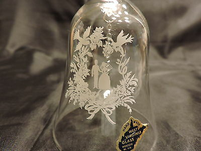 """Vintage Clear Glass Wedding Bell West Virginia Glass Co. 6"""""""