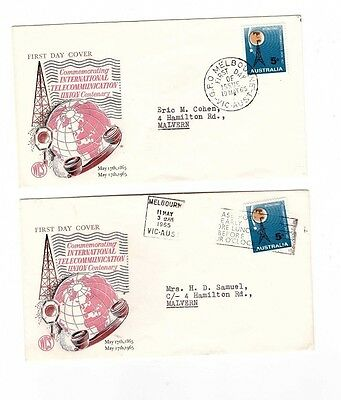 Australia 1965 5d ITU on WCS FDCs  ( 2 Covers) Dated First & Second Day