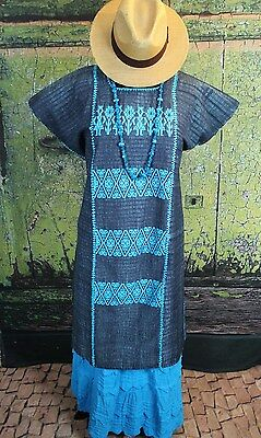 Black & Turquoise Huipil Cotzocon Hand Woven Mexico Hippie Boho Cowgirl Fiesta