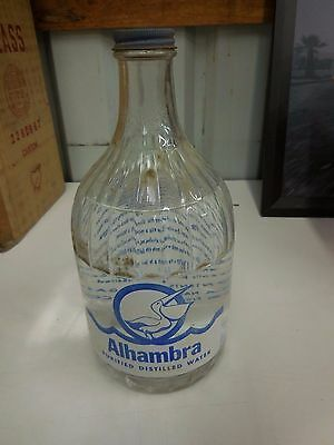 Alhambra Purified Distilled Water Bottle 1/2 Gallon Glass Vintage California