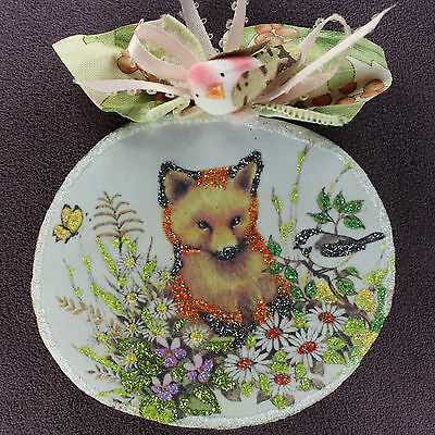 Fox Flower Totem WOOD SLICE ORNAMENT Woodland Butterfly Bird Glitter Vtg Img Art