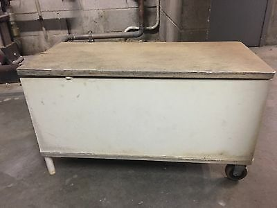 Vintage Antique Storage bench Seat With Wheels