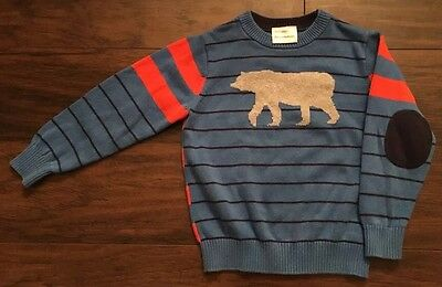 HANNA ANDERSSON Bear Elbow Patch Striped Sweater Blue Striped Shirt Top 100 4 4T