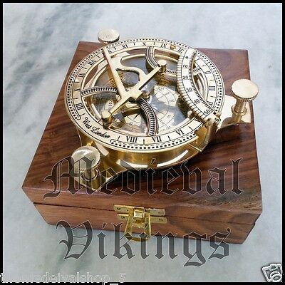 VINTAGE MARITIME PIRATE BRASS SUNDIAL COMPASS NAUTICAL DECOR GIFT Magnetic Compa