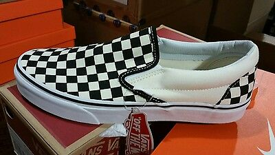 Vans Slip On Checkerboard Off White Black Checkered Mens Womens Shoes Size 4-14