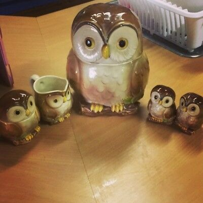 vintage Otagiri Ceramic Owl Cookie Jar Jug Sugar Pot And Salt Pepper Shakers Set