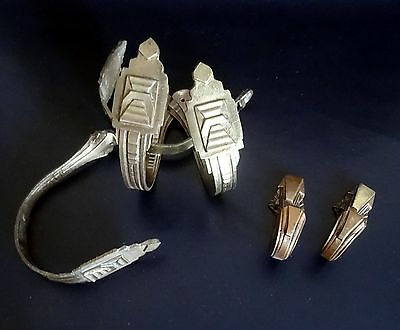 Four + Two French Art Deco Bronze Curtain Tie-Backs