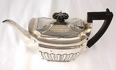 1903 Sterling Silver Colonial Presentation Teapot. Royal Artillery Lucknow 1936.
