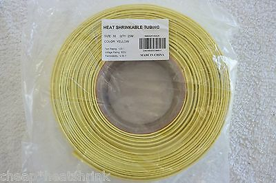 30mm Yellow Heat Shrink Tubing 25m Reel Heatshrink Tube Sleeve Wire Sleeving 2:1