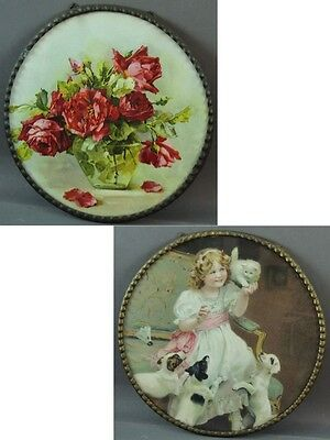 Pair of Victorian Flue Covers – Floral & Girl with Pets