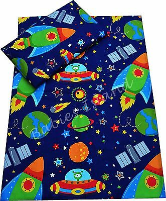 Space Ships, Planets Baby Bedding Set Duvet Covers Curtains Cot/Cot bed/Toddler