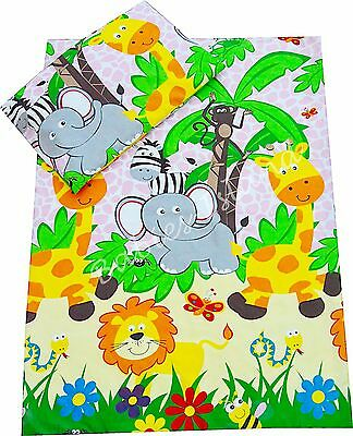 Pink Jungle Baby Girl Bedding Set Duvet Covers/Curtains for Cot/Cot bed/Toddler