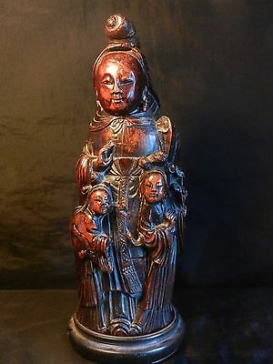 Antique Large Chinese Carved Bamboo Laquered Guan-Yin with Child Deitys