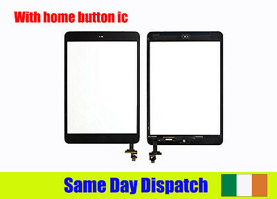 Black For iPad mini 3 3rd Gen A1599 A1600 Glass Touch Digitizer Screen+Button&IC