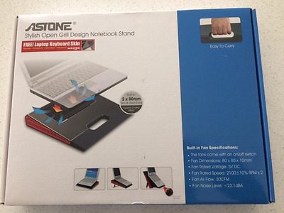 Astone Notebook Stand - Stylish Open Grill Design with Built-in Fan
