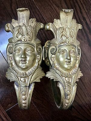 Rare Pair Large French Gilt Bronze Ormolu Curtain Tie Backs Tiebacks  Bust Face
