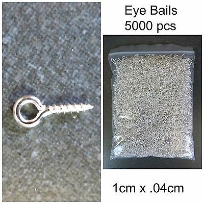Screw Pins Eye Bail 5000 pieces 1cm x .04cm Top Drilled Silver Colour Findings