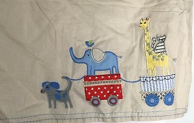 POTTERY BARN KIDS-CIRCUS FRIENDS Crib Skirt/Dust Ruffle-Lion, Giraffe, Hippo,Dog