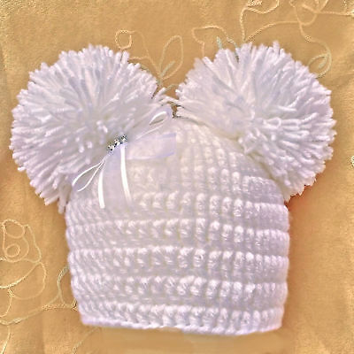 HAND CROCHETED WHITE POMPOM HAT BABY GIRLS beanie knit romany bling 2 photo prop