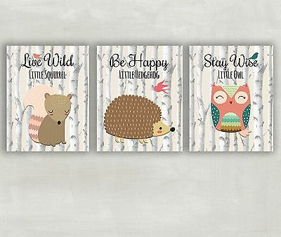Woodland Nursery Wall Art - Forest Animals - Woodland Wall Art