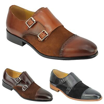 New Mens Vintage Real Suede & Leather 2 Tone Retro Monk Strap Smart Formal Shoes