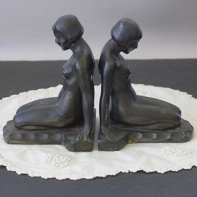Art Deco Nude Lady Bookends Cast Metal 1930's