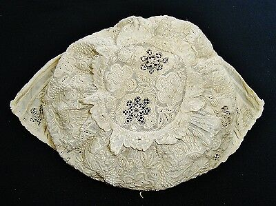 ANTIQUE Victorian Embroidered Whitework Baby Bonnet ~ Christening Doll Museum