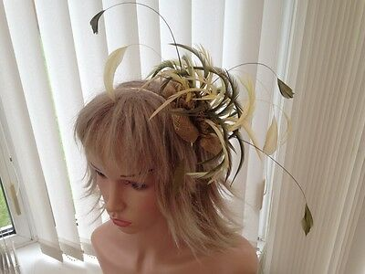 Gold, Olive Green, Lemon & Lime Green Feather Fascinator, Can Be Custom Made