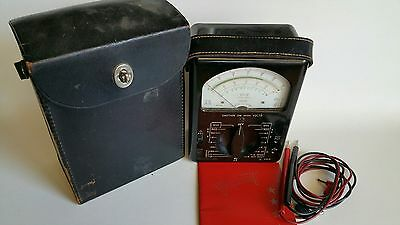 Triplett Model 630-A Volt-OHM-Mil-ammeter with Instruction Manual leads and case
