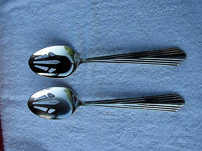 """Pair of Reed & Barton Spire Stainless 8 1/2"""" Slotted Serving Spoons 18/8 Korea"""