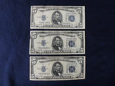 Three Circulated Silver Five Dollar Certificates 1934-D Series