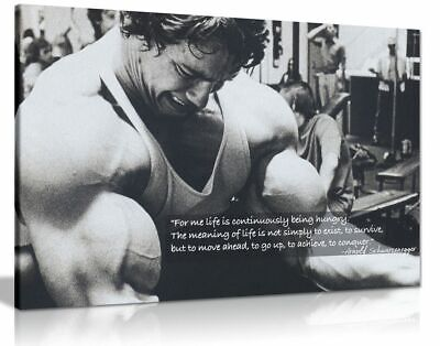 Arnold Schwarzenegger Bodybuilding Motivation Quote Canvas Wall Art Print
