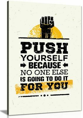 Push Yourself Grunge Inspiring Motivation Quote Canvas Wall Art Picture Print