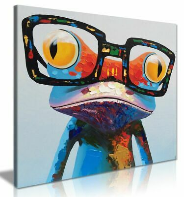 Cute Frog With Glasses Painting Modern Pop Wall Art Decor Canvas Wall Art Print