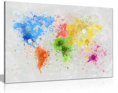 World Map Watercolour Explosion Canvas Wall Art Picture Print