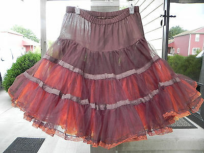 FALL SQUARE DANCE PETTICOAT orange brown yellow EXTRA FULL 3 Layers EXCELLENT!