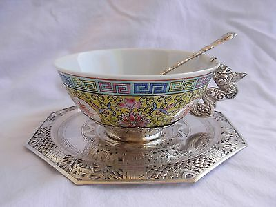 Antique Or Vintage Chinese Solid Silver Porcelain Tea Cup,saucer And Spoon.
