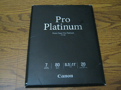 Canon Photo Paper Pro Platinum, 8.5 x 11 Inches, 20 Sheets  OPEN PACKAGE  READ