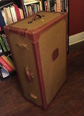 Rare Vtg GHURKA Original Marley Hodgson 502 Plaid Leather Steamer Trunk Travel