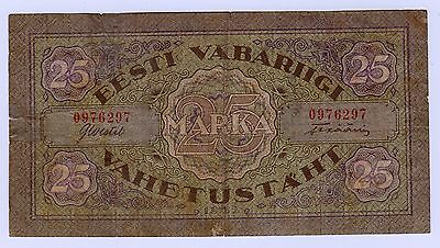 Estonia:  25 Marka  (1922)  (0976297)  * Taped In Two Places - See Scan *